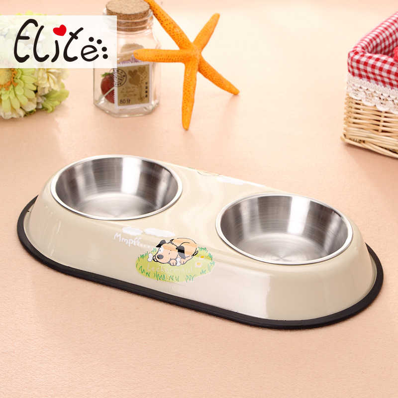 Stainless steel double bowls for cat and dogs, pet feeding bowl.(China (Mainland))