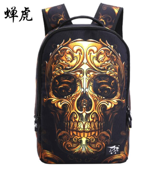 2017 Top Quality Mochila Cheap Backpack For Teenagers Discount Fashion School bag Gold Skull
