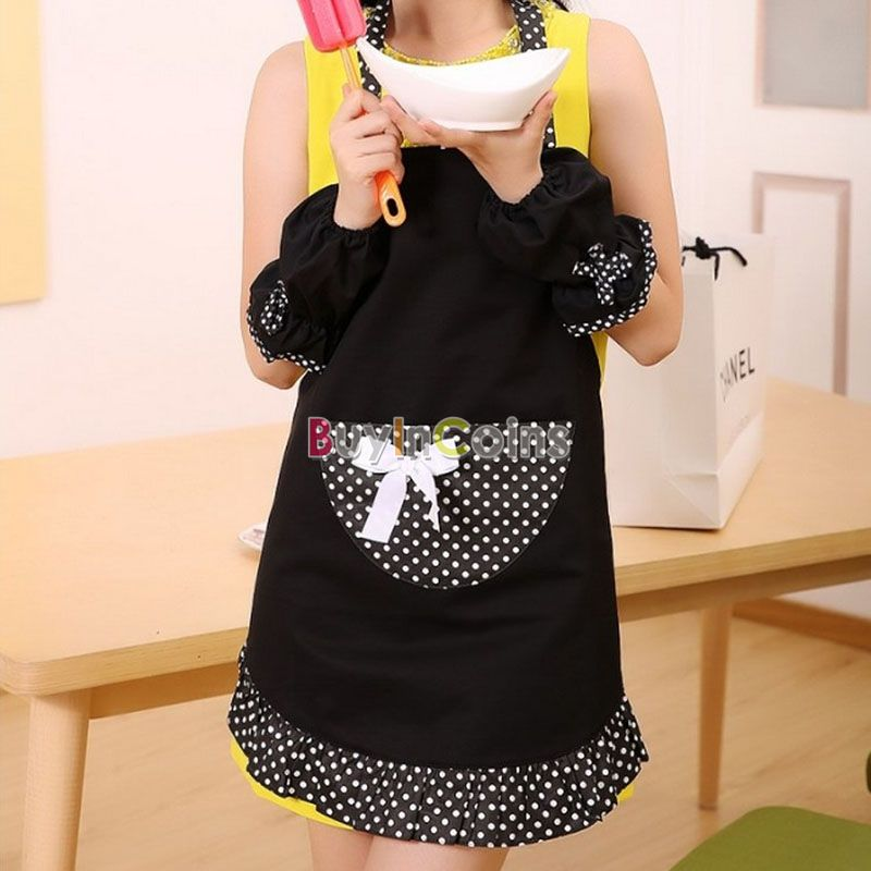 Lady Lovely Princess Black Style Soft Cotton Aprons Big Pocket Cooking Kitchen US AS #41050(China (Mainland))