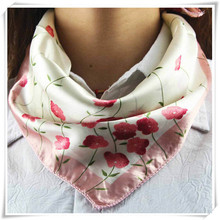 Newly Design Satin Silk Square Scarf Women Fashion Joker Four Seasons Silk Satin Scarves May18 Drop Shipping(China (Mainland))
