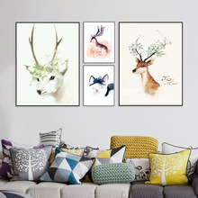 Buy Nordic Minimalist Modern Watercolor Canvas Painting Art HD Print Poster Elk Deer Head Wall Paintings Living Room Home Decor Mix for $2.97 in AliExpress store