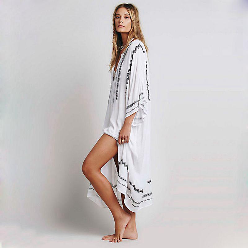 RARA Women Loose Casual Embroidery Splits Linen Maxi Dress V-neck Hippie Boho Long Dresses Turkish Robes Vestidos FemininoОдежда и ак�е��уары<br><br><br>Aliexpress