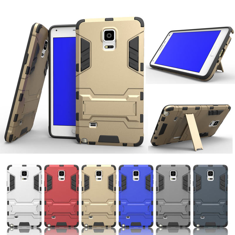 Hybrid Anti-knock Hard PC Protective Shell + Soft TPU Silicone Skin Cover Back Case w/ Stand for Samsung Galaxy Note 4 N9100(China (Mainland))