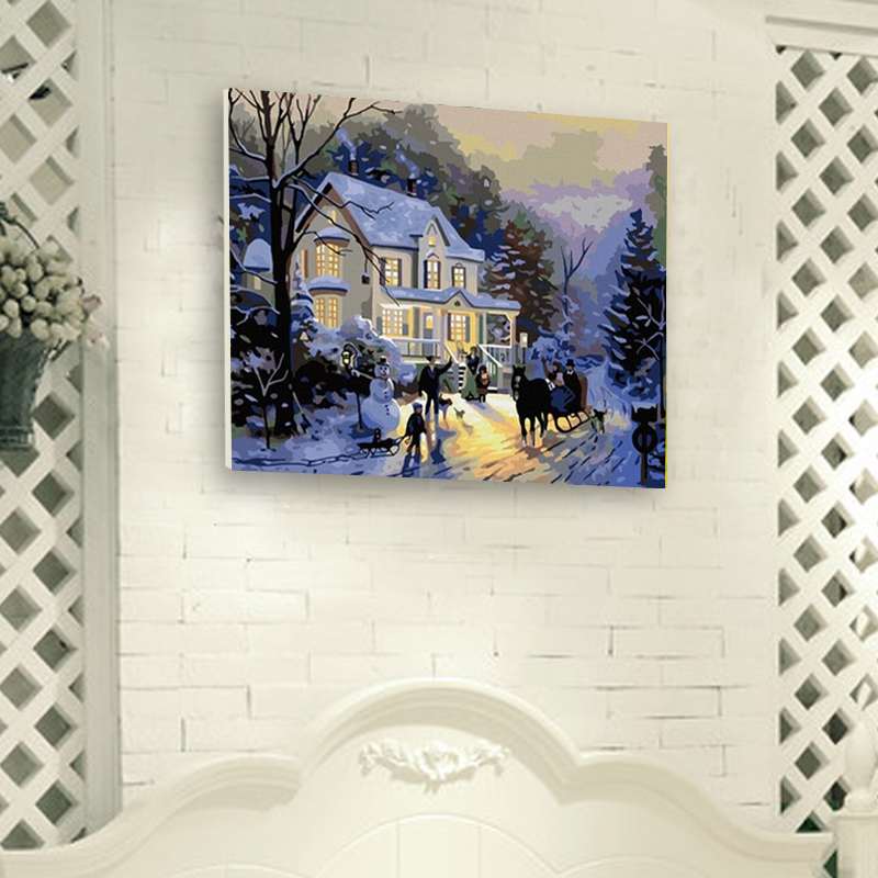 Rainbow magic cube digital oil painting diy lovers decorative painting digital oil painting mg winter romantic