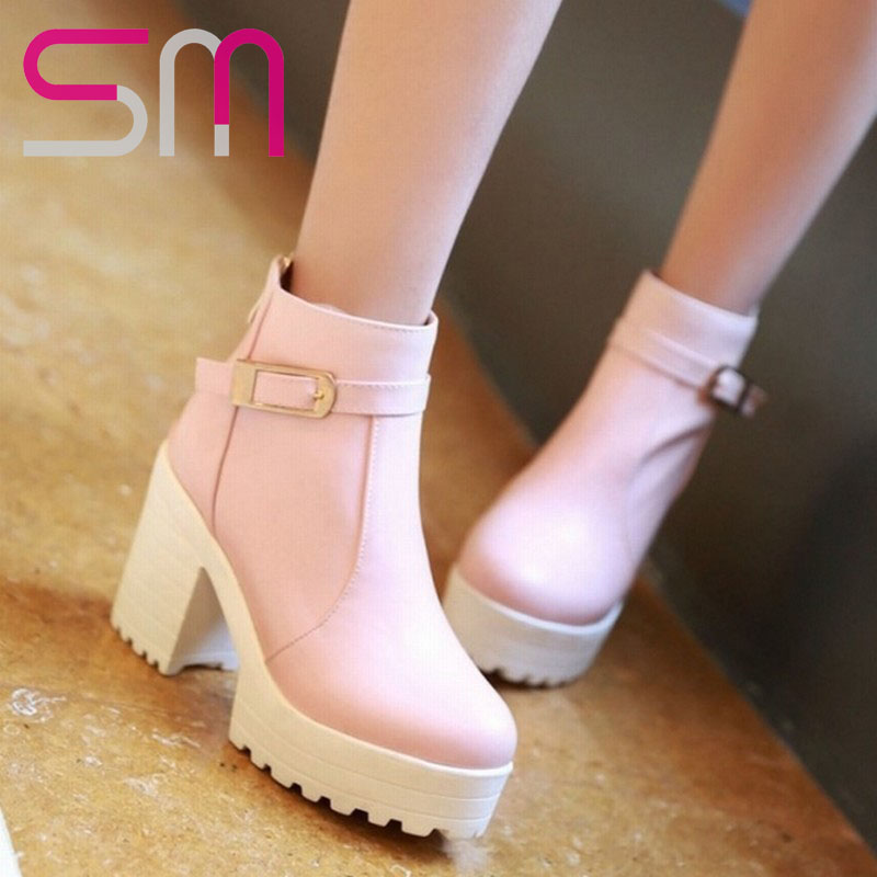 34-43 Fashion Buckle Ankle Boots 2015 Brand Thick High Heels Short Boots Platform Shoes Autumn Winter Boots Women Shoes Woman