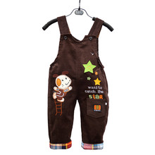 1-3Y Unisex Baby Cotton Pants overalls Embroidery cartoon overalls pants  full length suspenders baby clothing free shipping(China (Mainland))