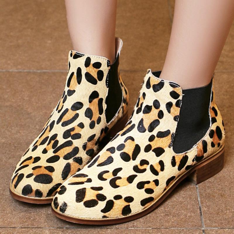 2016 unique style simple femmes cheville bottes élastique talon plat crin de cheval dames bottes de mode bout rond léopard chaussures d'été(China (Mainland))