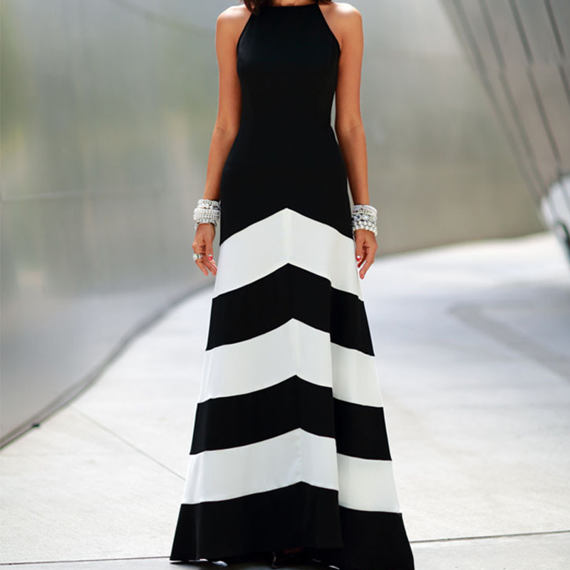 2015 NEW Women Sexy Long Maxi Dresses Casual party evening elegant Vestidos Beach Black White Striped Backless Dress LS*E3427#C2(China (Mainland))