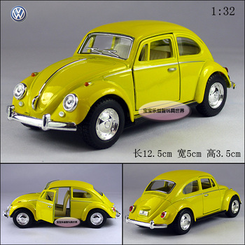 New 1:32  yellow kinsmart Volkswagen vw 1967 beetle alloy car model free air mail