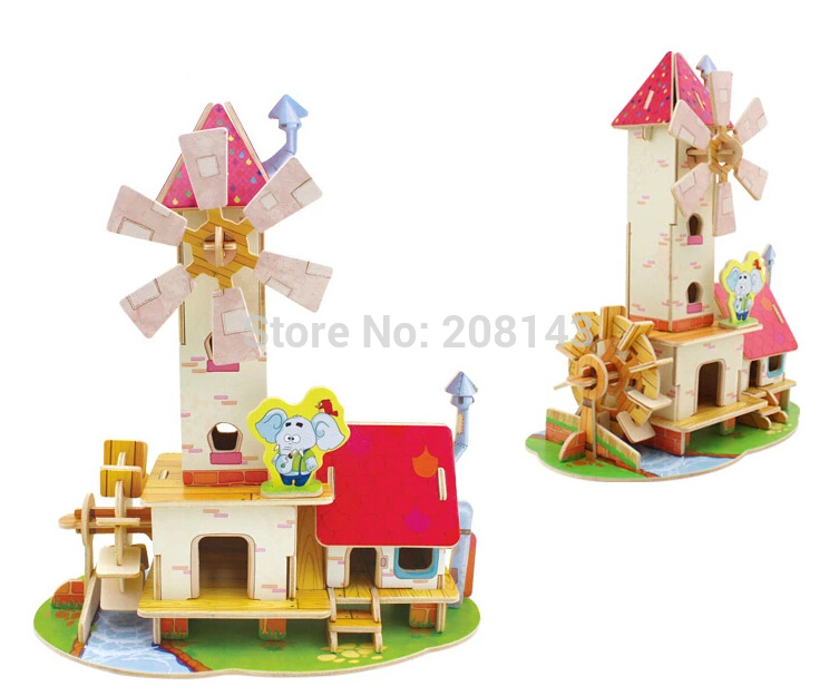 3D Wooden Puzzle Toy Mill Model 51 Pieces Great Wooden Toys for Children(China (Mainland))