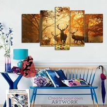 No Frame 5PCS Deer Wall Painting Modern Tree Canvas Painting Art Animal Wall Picture Home Decor Living Room Bedroom(China (Mainland))