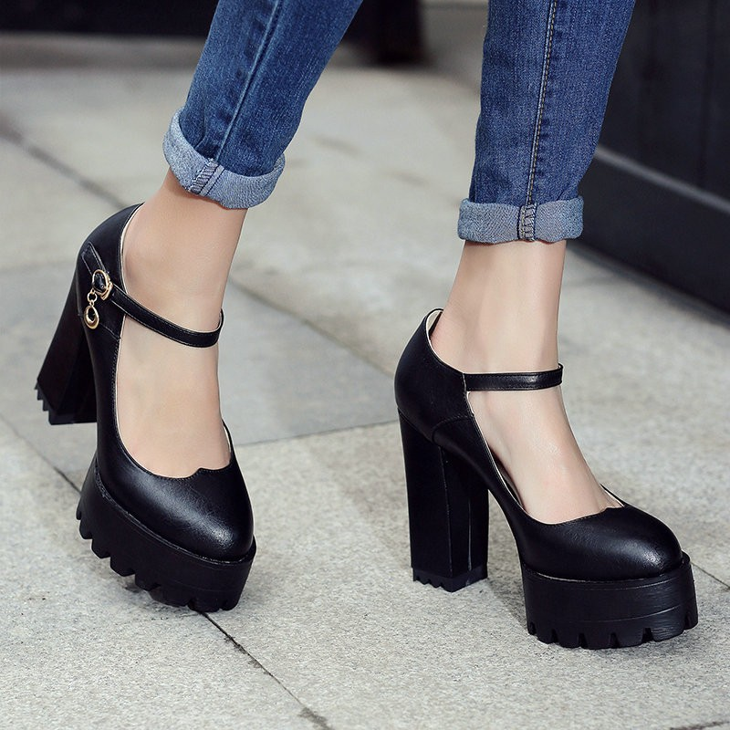 Size 34-42 White Mary Janes Buckle Strap Platform Round Toe Women Pumps Square High Heels Autumn/Spring Girl Party Shoes