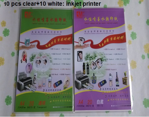 (10 clear+10 white) /lot inkjet water transfer printing paper ceramic transfer paper glass decal paper(China (Mainland))