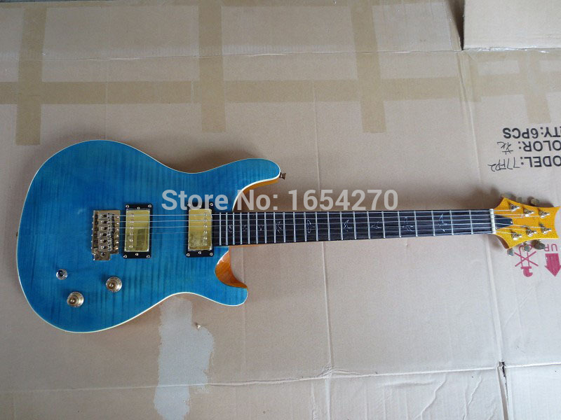 Wholesale and Retail PRS guitar New Arrival Paul Reed Smith Custom 24 Electric Guitar Teal Blue guitar factory 150810(China (Mainland))