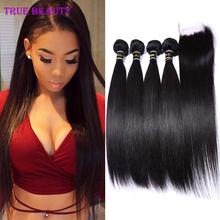 7A Brazilian Virgin Hair Straight With Closure 4 Bundles Brazilian Straight Hair With Closure Unprocessed Cheap Human Hair Weave