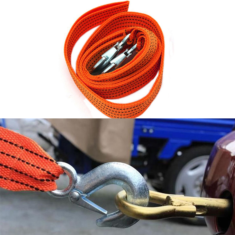 Hot 5Ton 3M SUV Car 4WD Steel Tow Cable Tow Strap Towing Rope with Hooks for Heavy Duty Car Emergency(China (Mainland))
