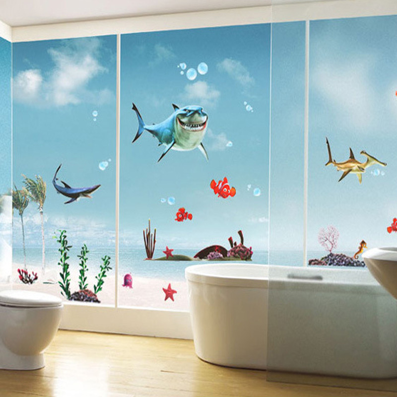 New finding nemo fish wall stickers bathroom 3d cartoon - Finding nemo bathroom sets ...