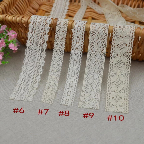 5 Meters Home DIY Sewing Wedding Crafts Lace Cotton Crochet Scallop Beige Lace Embroidered Trim Clothing Decorative Lace Ribbon(China (Mainland))