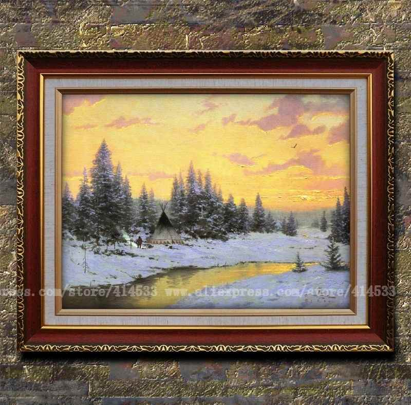 Prints of thomas kinkade oil painting indian camp at sunset snow scenery painting office home Home decor paintings for sale india
