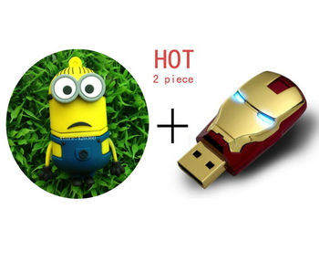 Wholesale Hot sale 2piece Despicable Me 2 +Fashion Avengers Iron Man LED Flash 4-32GB USB 2.0 Flash Memory Stick Drive Festival