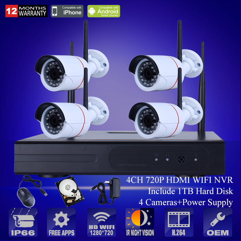 Plug and Play 4CH Wireless NVR Kit P2P 720P HD Outdoor IR Night Vision Security IP Camera WIFI CCTV System 1TB HDD<br><br>Aliexpress