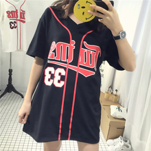 2016 New Women Casual T Shirt Summer Boyfriend Style Baseball T-shirts Letter Digit Printed Short Sleeve Loose Tees Tops
