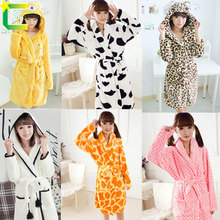 winter spring Flannel pink dots leopard stripe bath robe women long-sleeve thickening plus size bathrobes casual sleepwear(China (Mainland))