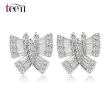 Teemi Factory Wholesale Jewelry 2015 New Arrival Stock Cubic Zirconia Butterfly Bridal Stud Earrings for Weddings(China (Mainland))