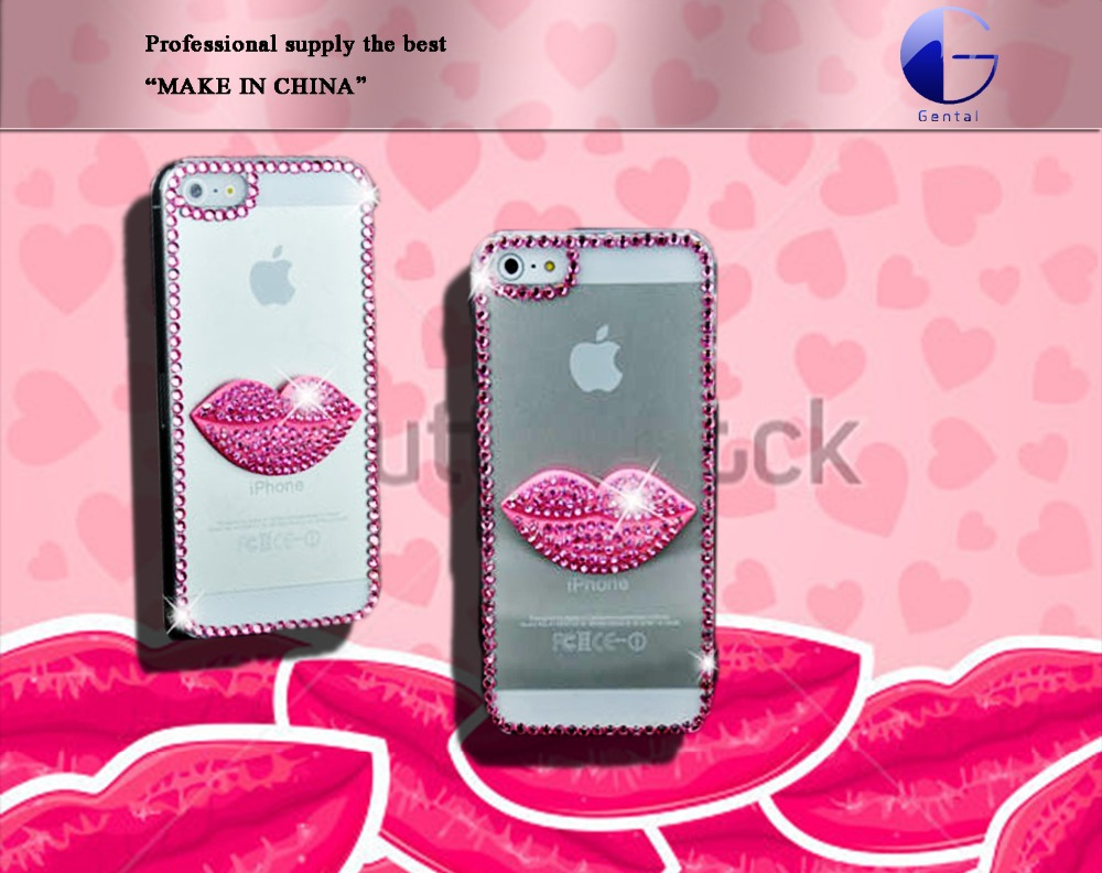 Free shipping Rhinestone Crystal Bling Diamond pink lips Mobile Phone Back Shell for ipone 5(China (Mainland))