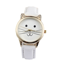 Cats Face Watch 2015 Fashion Couple Watch Neutral Diamond Lovely  Cute Women Faux Leather Quartz 4 Colors Free Shipping