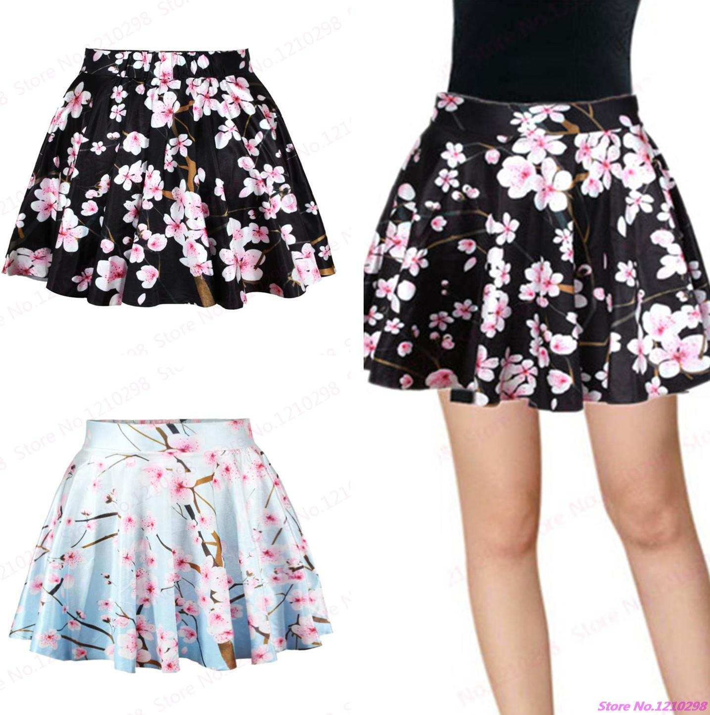 Printed Peach Blossom Short Skirts High Waist Ball Gown Miniskirt Clothing Sport font b Kilts b
