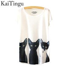 Buy KaiTingu 2016 Brand New Fashion Summer White Harajuku T Shirt Women Tops Three Cats Print Short Sleeve T-shirt Free for $4.73 in AliExpress store