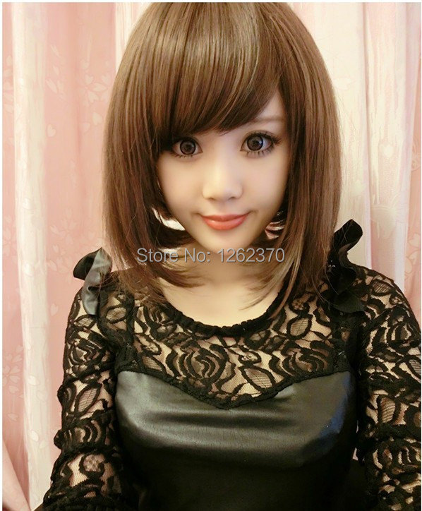 Harajuku Anime Cosplay Wig Natural Black Light Brown Synthetic Hair Wigs For Women Ladies Sexy Pelucas Party High Qualtiy Peruca<br><br>Aliexpress