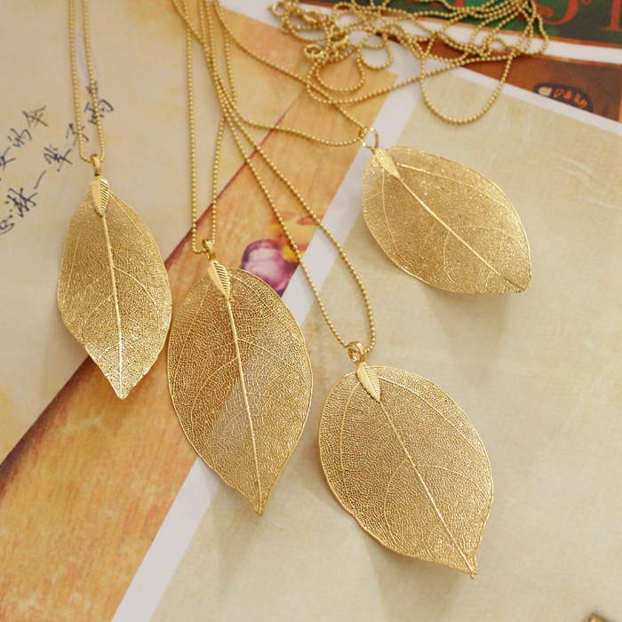Wholesale Fashion Jewelry 18K Gold Plated Colar Natural Real Leaf Dipped Long Leaf Pendants For Women Stray Leaves Necklaces(China (Mainland))