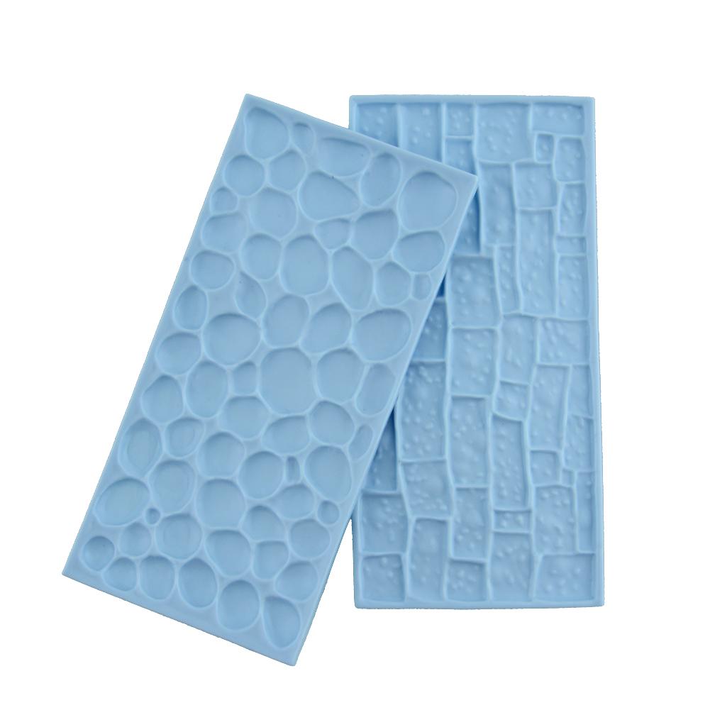 2PCS/LOT Plastic Stone Pebble Rock Pattern Mold Fondant Embosser Cake Candy Pastry Mould Craft Baking Blue(China (Mainland))