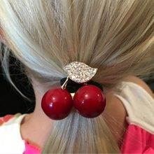 Buy Women Simulated Pearl Hair Band Cherry Rubber Band Elastic Hair Bands Girls Hair Accessories Ladies Hairband for $1.06 in AliExpress store