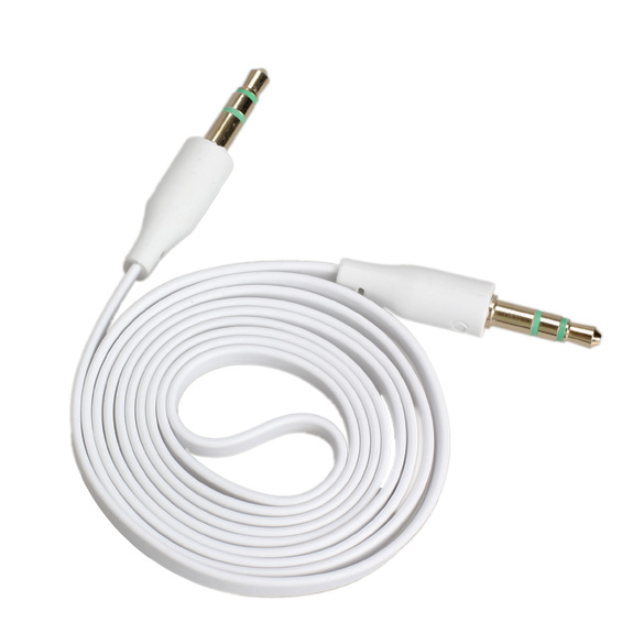 3.5mm Male to Male Stereo Audio Jack AUX Auxiliary Cable for iPod MP3 White A#S0