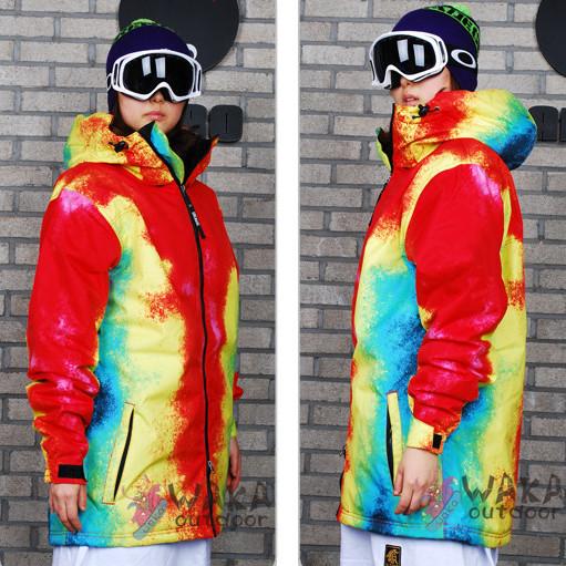 2014 Hot Selling Waka-e Plus Size Women Monoboard Ski Suit Tie-dyeing Long Design Snowboard Skiing Jacket Loose(China (Mainland))