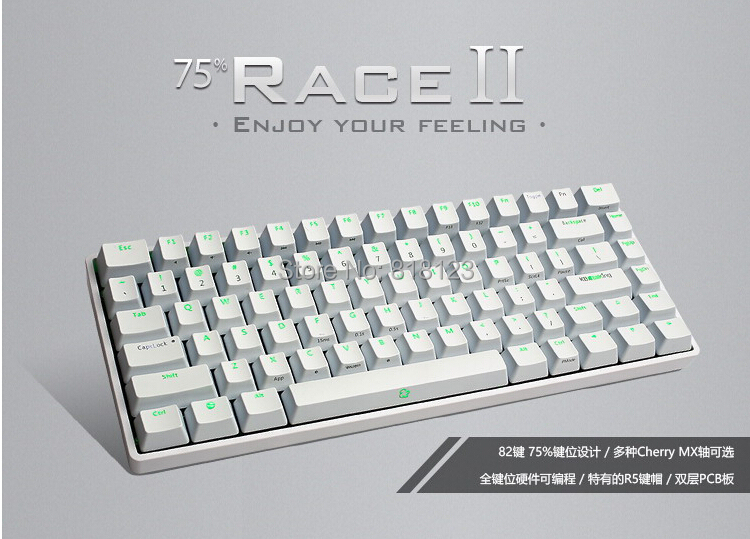 KBT RACE II  75% mechanical keyboard compact Kbtalking mini82 white KBT race 2  cherry mx switches gaming  detachable cable(China (Mainland))