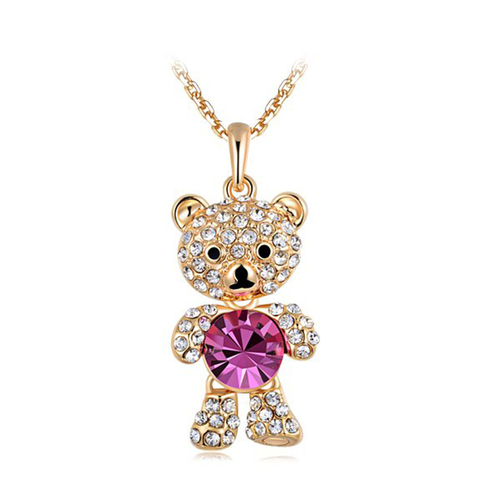 Girls Jewelry Rose Gold Plated Chain Cute Lovely Little Bear Dangling Necklace Charming Pendant Necklaces()