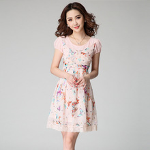 2015 Summer Fashion Women's Butterfly Printed Chiffon Dress With Lace Hem Faux Two Piece Short Dress