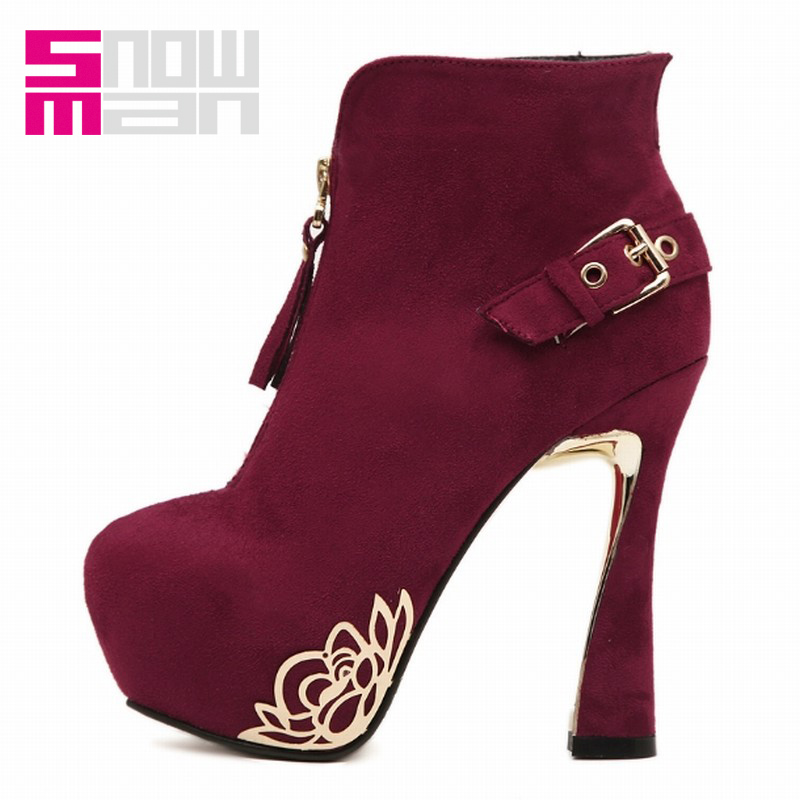 Thick Platform Shoes Party Wedding Shoes Winter Boots 2016 Sexy Hoof Super High Heels Metal Front Zipper Ankle Boots Lady Shoes<br><br>Aliexpress