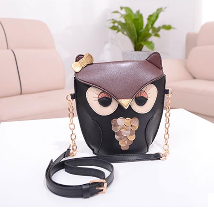 Kiss of the Goddess ! New Fashion Cute Owl Print bag for Women PU Leather Satchel Shoulder Messenger Bag Better bandolera mujer(China (Mainland))