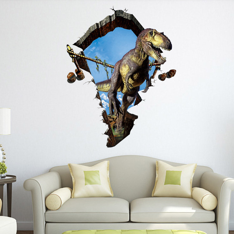 Home decor creative dinosaur 3d cartoon wall stickers hole stickers can remove the effects