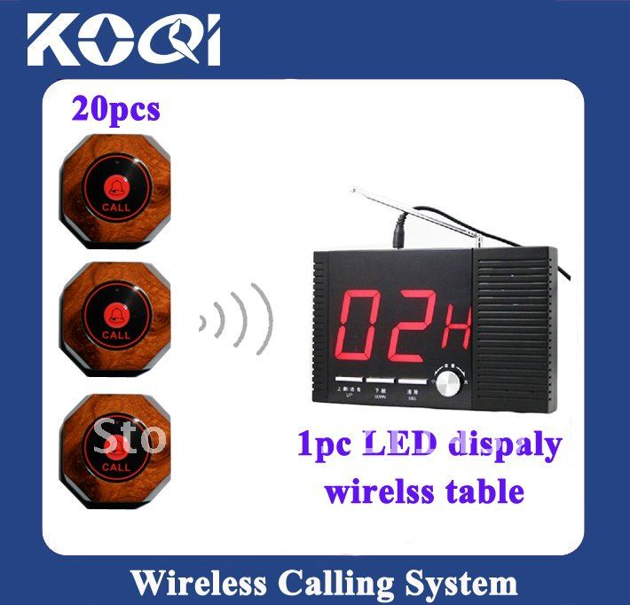 2012 Newest Tabletop service bell , waiter calling system , Wireless Call System ; A set of 1pc receiver and 20pcs buttons(China (Mainland))