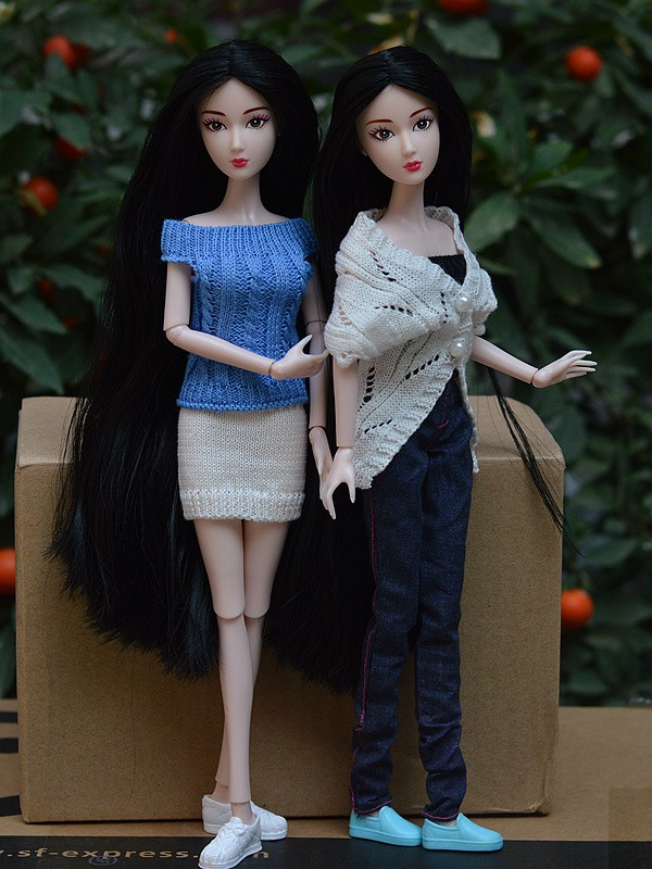 2015 New Original 11″ Nude Naked doll Toy / 14 Joint Movable Flexible / Long Black Stright Hair White Skin For Barbie Doll Xmas