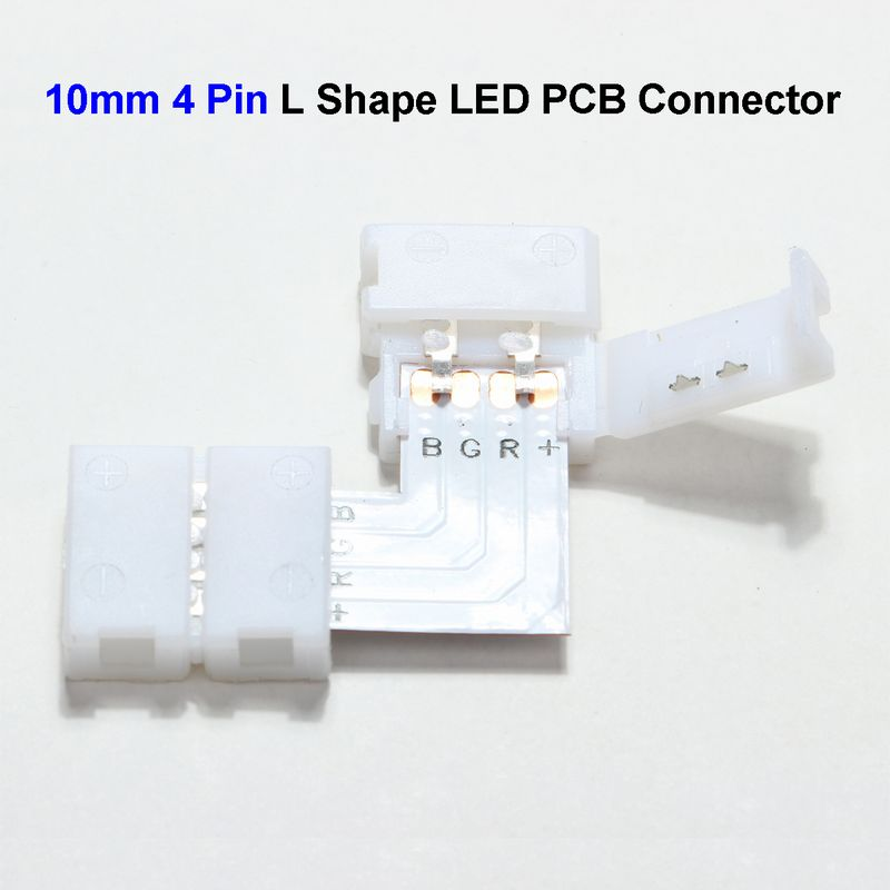 ( 300 pcs/lot ) 10mm 4 Pin L Shape 5050 LED Strip PCB Connector Adapter For SMD 5050 3528 RGB LED Strip No Soldering<br><br>Aliexpress