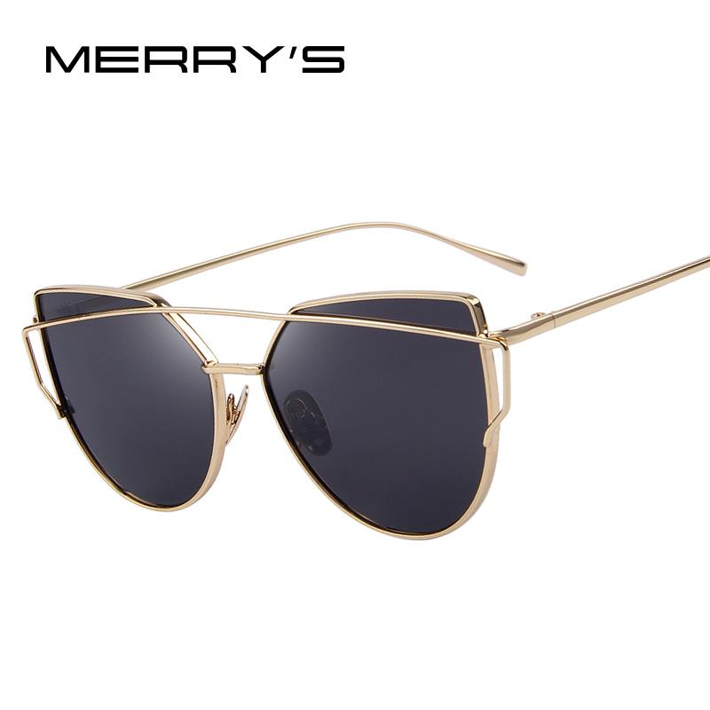 MERRY'S Fashion Women Cat Eye Sunglasses Classic Brand Designer Twin-Beams Sunglasses Coating Mirror Flat Panel Lens S'7882(China (Mainland))