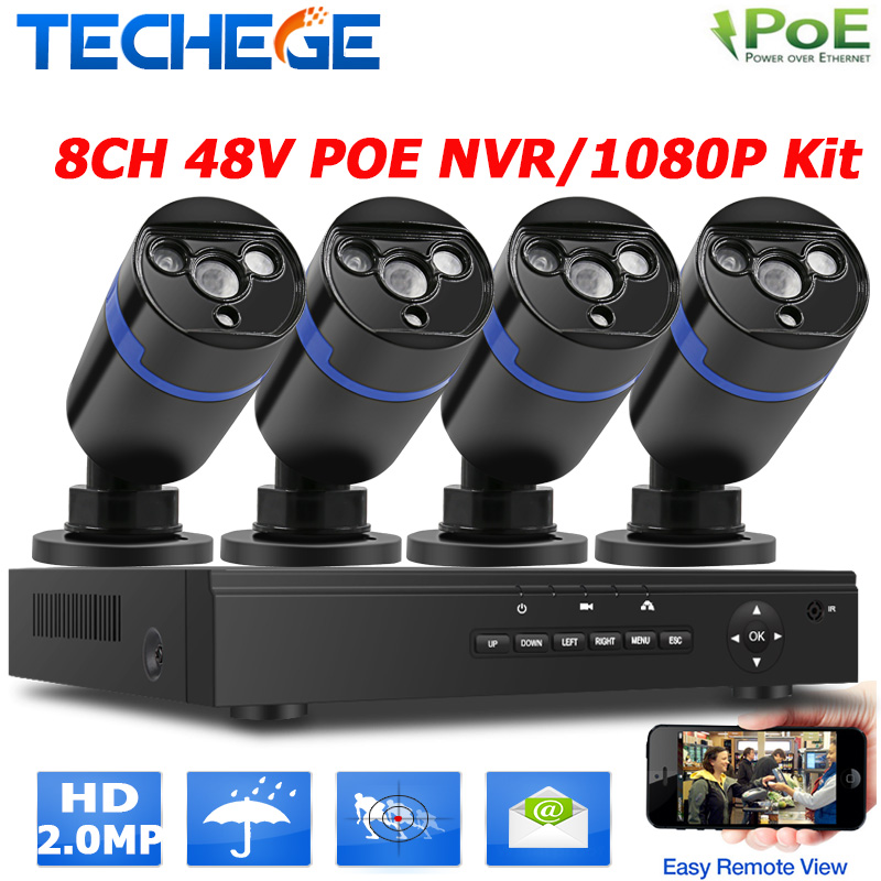 2.0MP outdoor CCTV system 48V 8ch POE NVR 4pcs 2MP IP camera array leds night vision outdoor street/home video surveillance kit(China (Mainland))