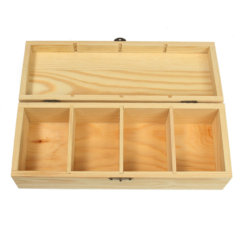1pcs Vintage 4 Compartments Wooden Tea Box Jewelry Accessories Storage Container Pine Wood Tea Gift Store Box Case Container(China (Mainland))